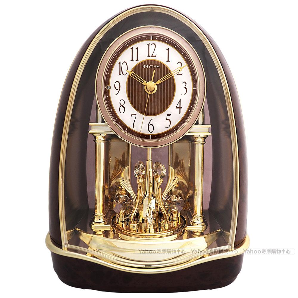 RHYTHM麗聲 典雅水晶鐘擺音樂報時座鐘/29cm