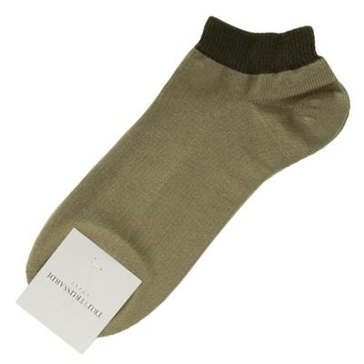 TRUSSARDI 撞色休閒棉質短襪-綠色