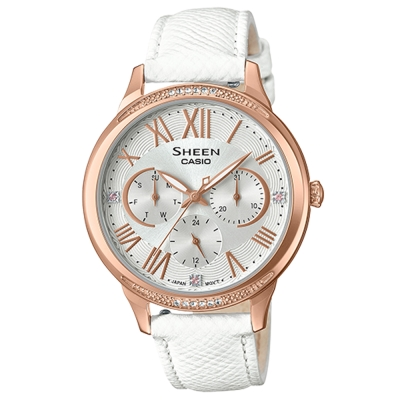 SHEEN優雅迷人風采羅馬數字時刻皮帶腕錶(SHE-3058LTD-7)白X玫瑰框36mm