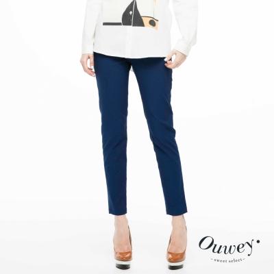 OUWEY歐薇-藍底黑點點彈性九分褲