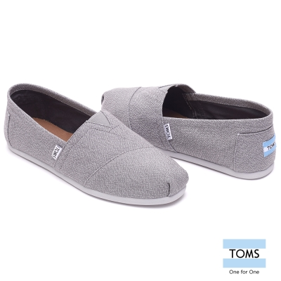 TOMS 灰白細織紋帆布懶人鞋-男款(灰)