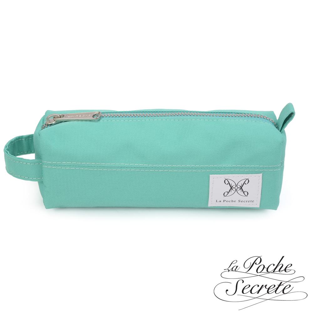 La Poche Secrete 率性韓風自在休閒帆布漾彩筆袋化妝包萬用包-薄荷綠
