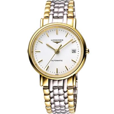 LONGINES Presence 經典優雅機械腕錶-白x雙色版/38mm