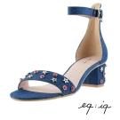 eq:iq--一字低跟踝帶涼鞋-丹寧藍
