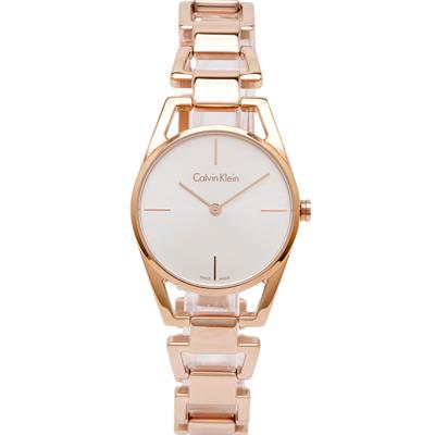 Calvin Klein 精緻美學簡約風手錶(K7L23646)-銀面X玫瑰金/30mm