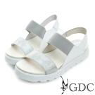 GDC-韓風簡約彈性楔型厚底一字涼鞋-白色