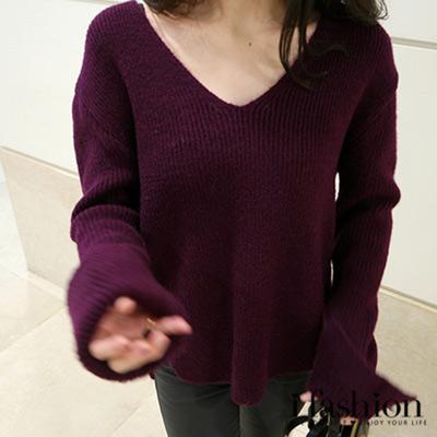 上衣-氣質甜美v領寬鬆長袖開衩不規則毛衣-紫-iF