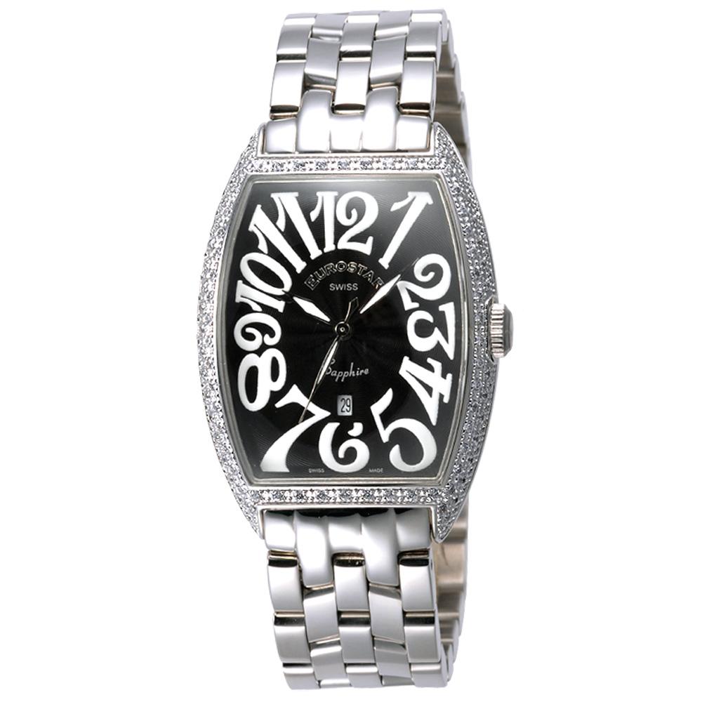 EUROSTAR 優雅知性字體晶鑽時尚錶-黑/25mm