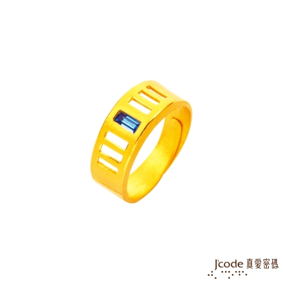 J'code真愛密碼 璀璨黃金/水晶男戒指