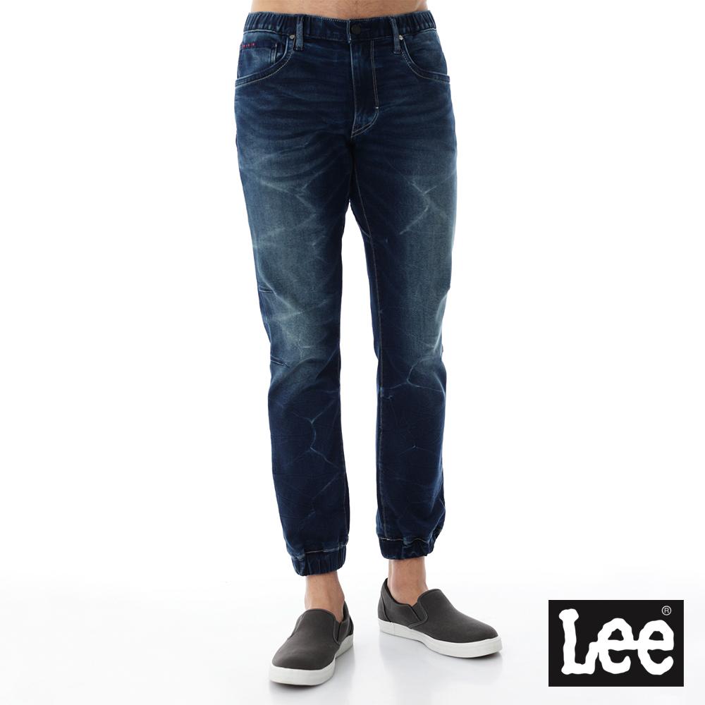 Lee 牛仔中腰修身縮口褲-男款-藍色