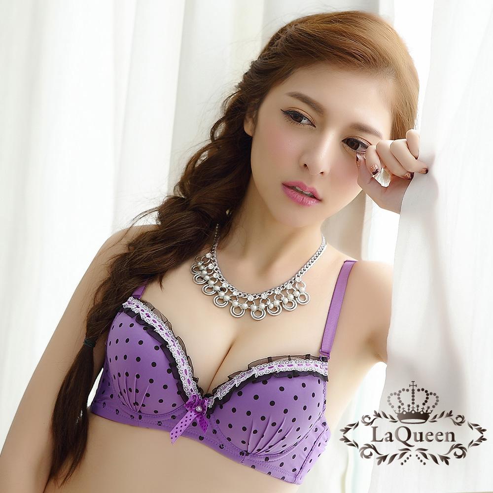 內衣 甜美圓點蕾絲緞帶成套內衣-紫 La Queen