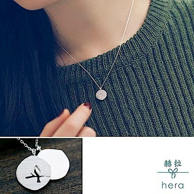 Hera 赫拉 925純銀鏤空小鳥雙牌韓版鎖骨鍊銀色