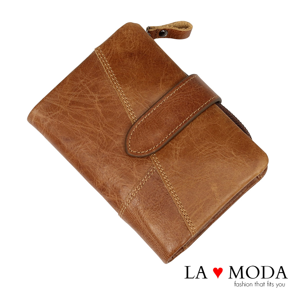 La Moda旅遊出國超安心防盜刷防RFID偵測真皮牛皮大容量短夾棕