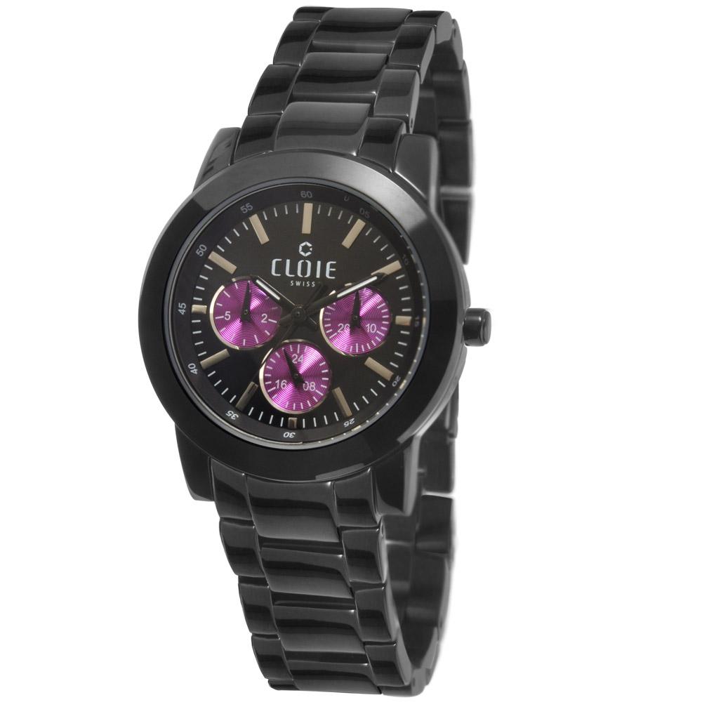 CLOIE 魅力無限全日曆時尚腕錶-黑x紫/38mm