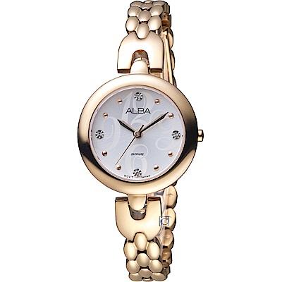 ALBA 雅柏 璀璨水晶時尚手鍊女錶(AH8344X1)玫瑰金色