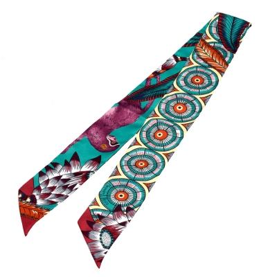 HERMES The Savana Dance繽紛造型Twilly絲巾/領結(綠X梅紅)