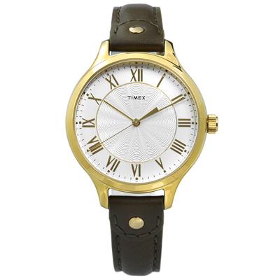 TIMEX 天美時 美國指標典雅女伶甜蜜綻放真皮手錶-銀x金框x墨綠/36mm