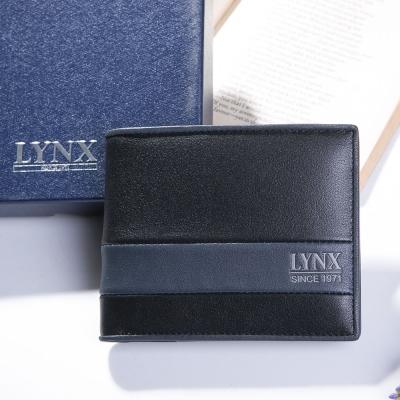 Lynx - 山貓藝術藍墨真皮系列上下翻6卡3照可拆式短夾