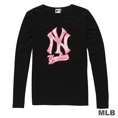 MLB-紐約洋基隊植絨LOGO印花長袖T恤-黑-女