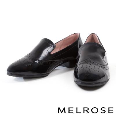 跟鞋 MELROSE 英式復古全真皮打洞設計樂福鞋-黑