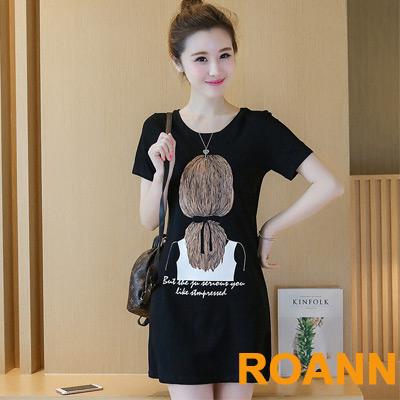 圓領背影圖紋短袖長款T恤 (黑色)-ROANN