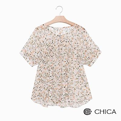 CHICA 仲夏花園胸前抓皺設計上衣(2色)