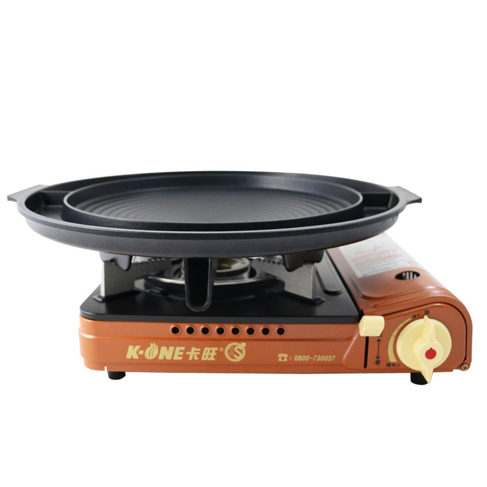 卡旺K1-A001D雙安全卡式爐+韓國原裝大理石雙用圓烤盤NY2499(直徑37CM)