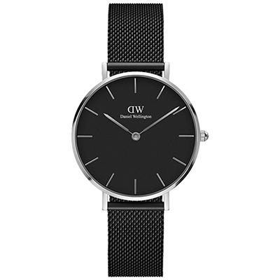 DW Daniel Wellington 氣質艾士菲啞光黑米蘭編織腕錶-銀框/32mm