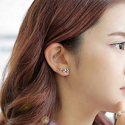 Hera 赫拉 韓版小清新銀白鑽樹葉耳釘