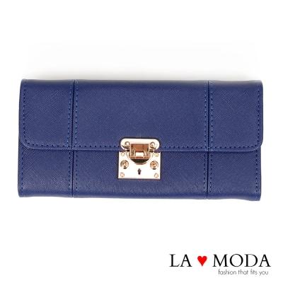 La Moda設計感滿點特殊翻釦防刮十字紋大容量手機包長夾(深藍)