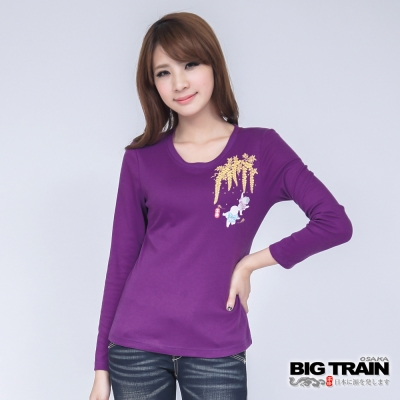 BIG TRAIN 藤園小童印花TEE-女-紫