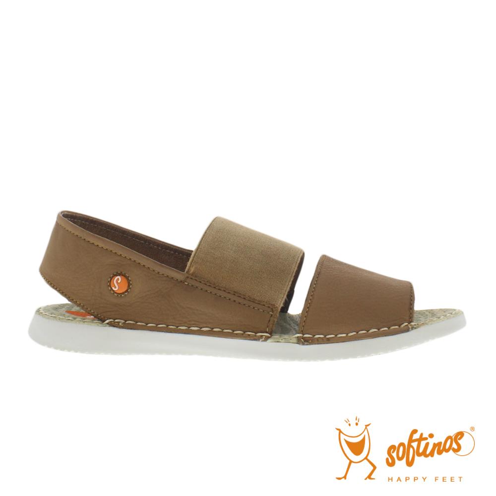 SOFTINOS(女) TAI STYLE 雙寬線牛皮鬆緊帶雙料休閒涼鞋 - 沙棕