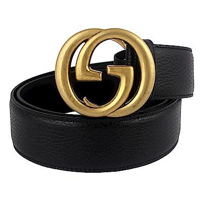 GUCCI 復古雙G扣頭黑色寬版真皮皮帶(90cm/寬)