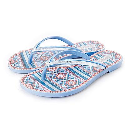 GRENDHA 華麗歐亞圖紋夾腳鞋-藍色