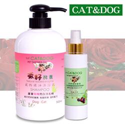 CAT&DOG茶籽酵素寵物精油沐浴乳500ml(玫瑰)+乾洗手噴霧150ml)