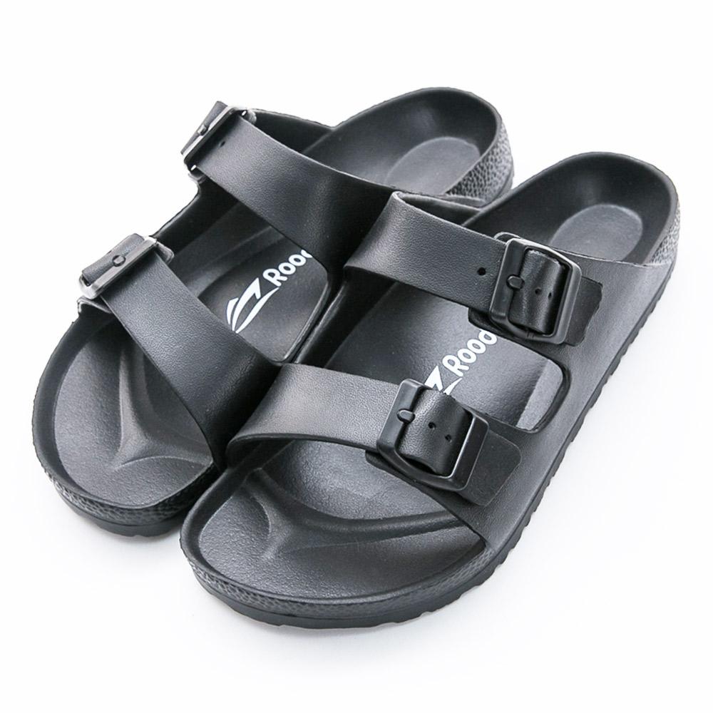 Roadpacer-女雙釦環休閒拖鞋-黑