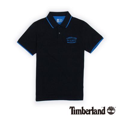 Timberland-男款藍黑色刺繡雙色短袖Polo衫