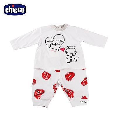 chicco-小乳牛-長袖套裝-白紅點(6-18個月)