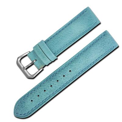 Watchband 各品牌 柔軟簡約 車線牛皮錶帶~ 藍色