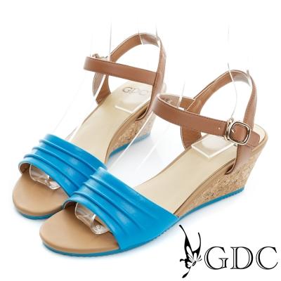GDC-鞋面抓皺真皮軟木跟一字楔型涼鞋-藍色