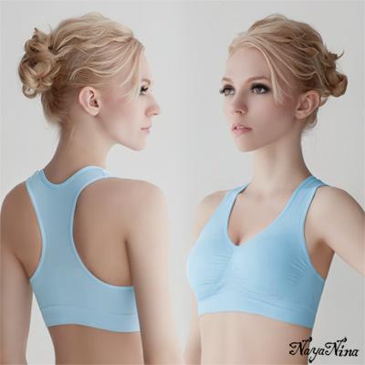 運動內衣-無鋼圈-彈力工字背內衣-藍M-Naya-Nina