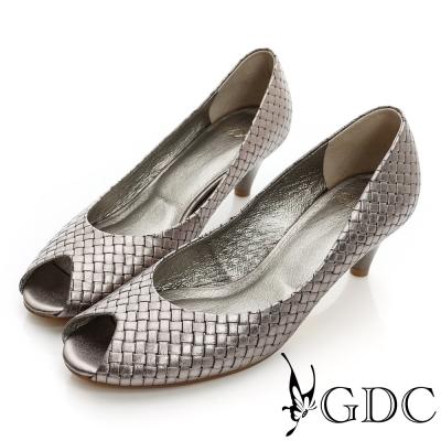 GDC都會-經典編織魚口真皮低跟鞋-錫色