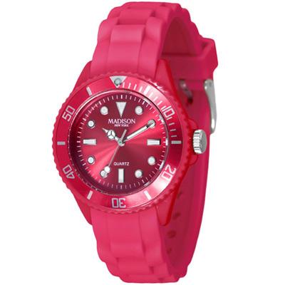 Madison NY Candy Time Mini玩色圓點系列腕錶-莓果紅/35mm