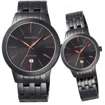 Roven Dino羅梵迪諾  無限無線時尚日期對錶-黑-40X30mm