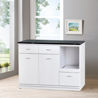 凱曼 納維斯4尺黑白根原石餐櫃收納櫃