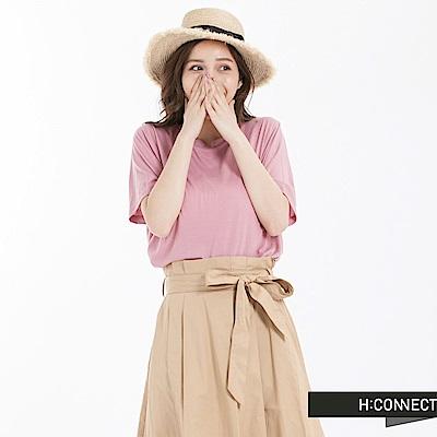 H:CONNECT 韓國品牌 女裝 -圓領純色柔軟T-Shirt-粉