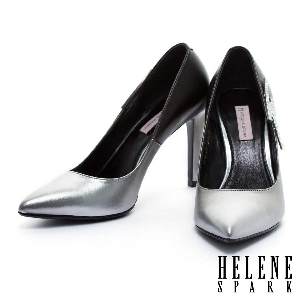 高跟鞋 HELENE SPARK 閃電鑽飾尖頭美型高跟鞋-銀