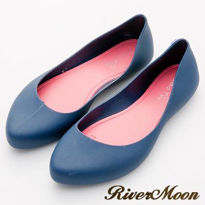 River&Moon雨鞋-晴雨二穿素面Q軟防水微尖頭低跟鞋-藍系