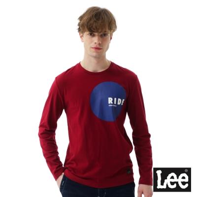 Lee 圓形膠印與直絨長袖圓領TEE-男款-紅色