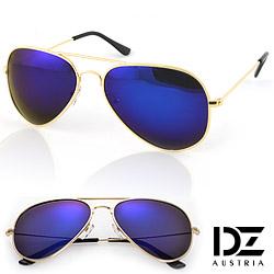DZ 復古饗宴 抗UV 偏光太陽眼鏡墨鏡(金框深藍膜)